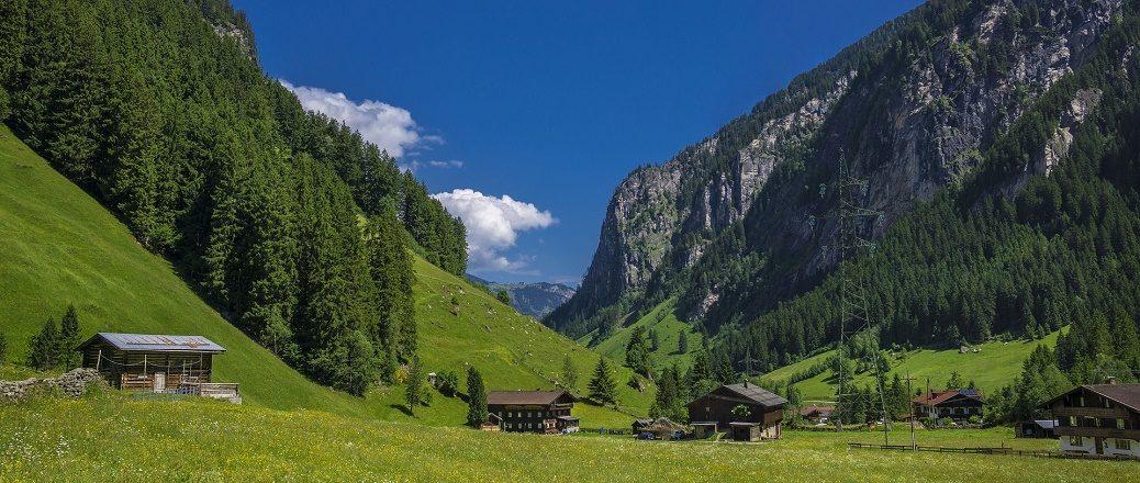 Huizen in groene weides tussen bergen