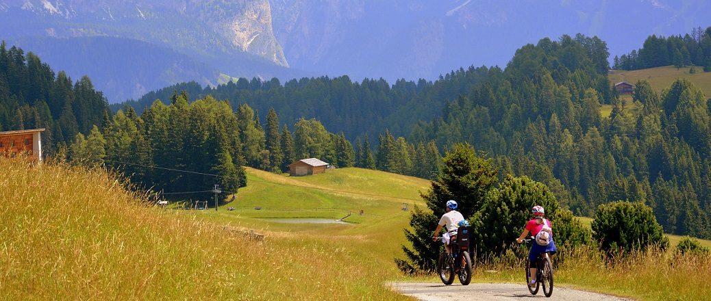 Twee fietsers in de bergen