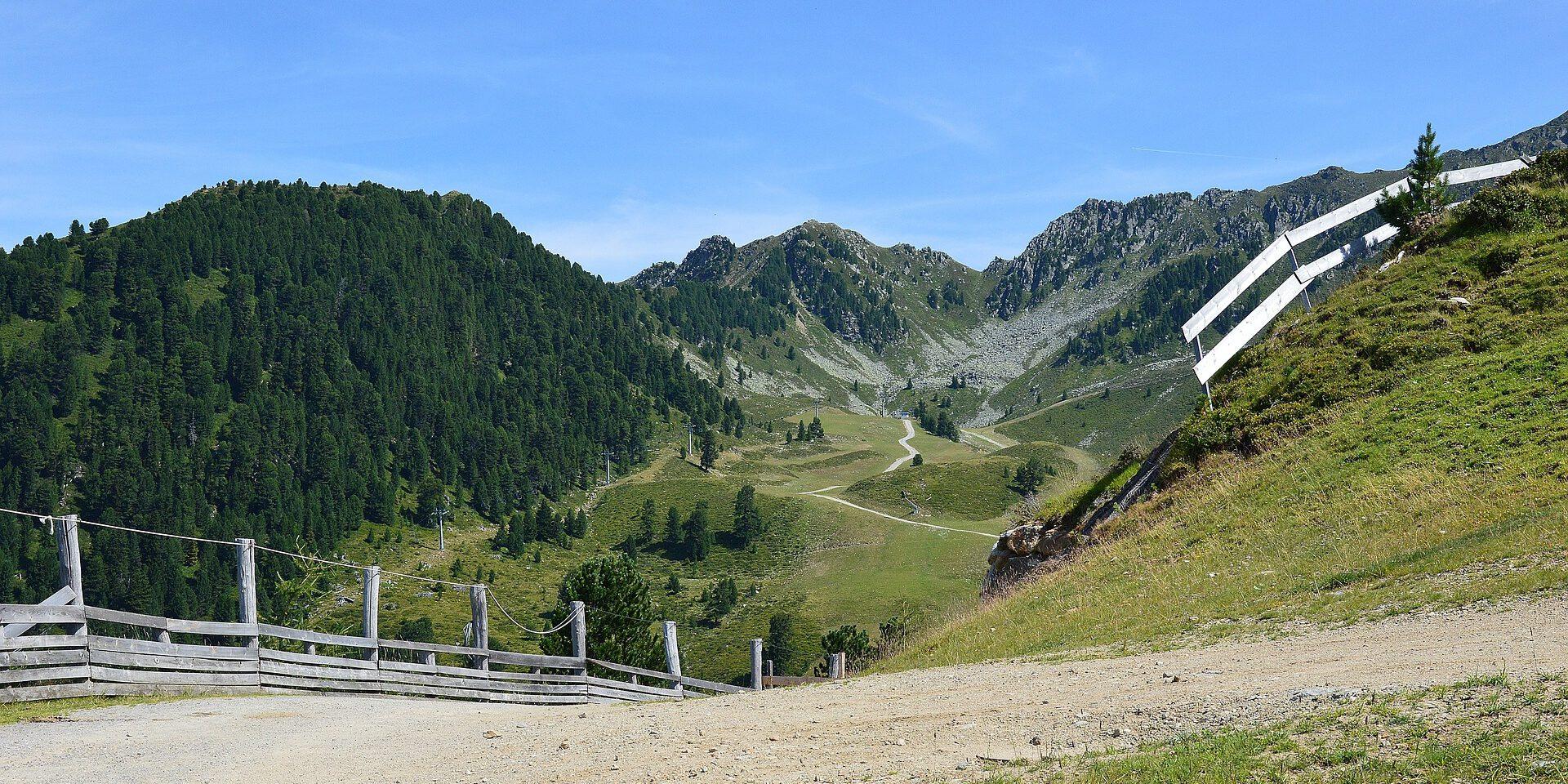 Uitzicht over groen begroeide bergen