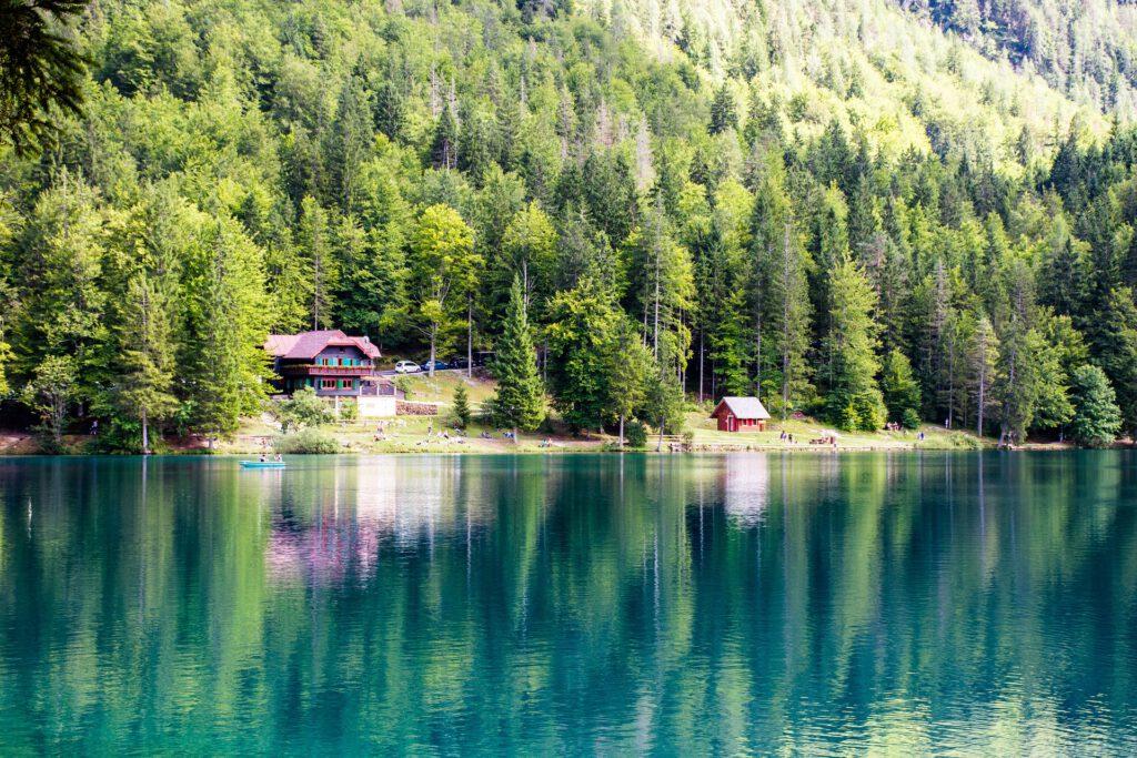 Blauw meer met huisje en bos
