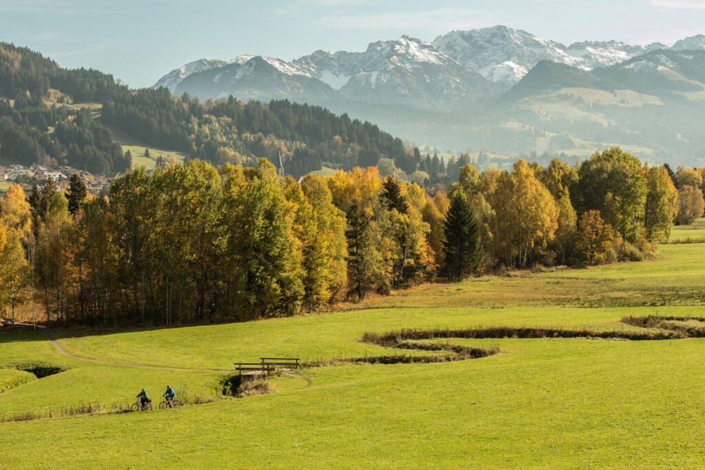 Fietsers in veld met bergen op achtergrond